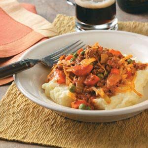 A variation on shepherd's pie, this hearty dish brings together saucy beef and mashed potatoes, parsnips and other vegetables.