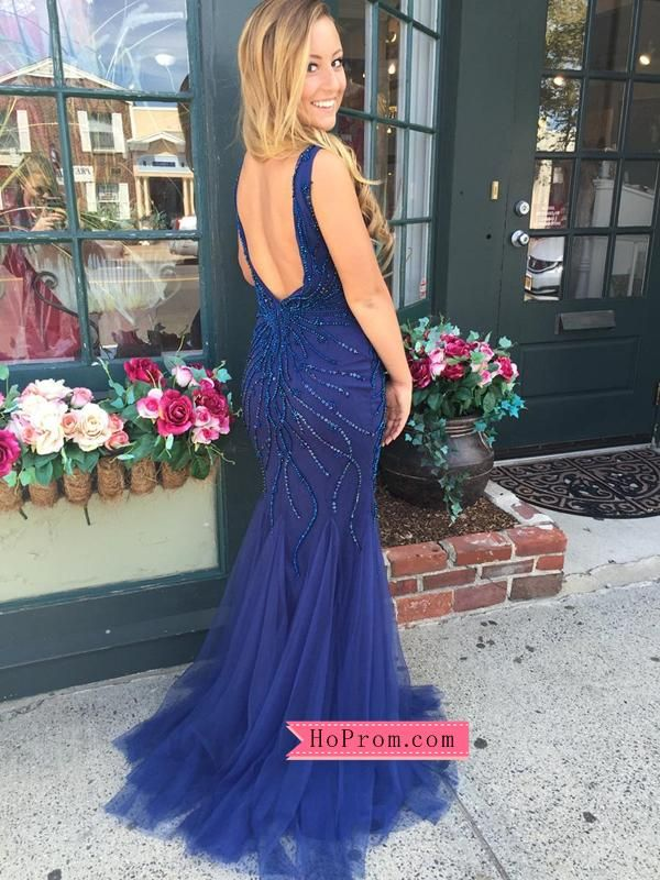 67a9c226c4332 Blue Tulle Mermaid Open Back Prom Dress with Stunning Tonal Beading ...
