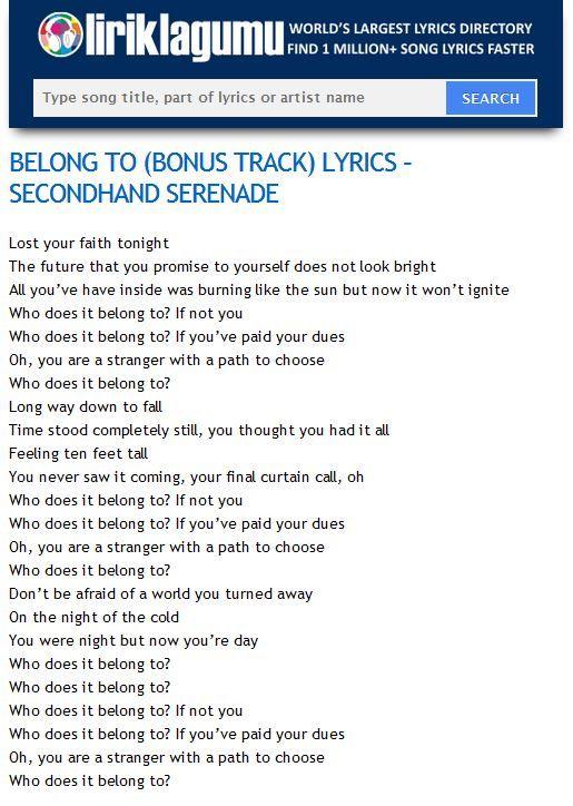 BELONG TO (BONUS TRACK) Lyrics - SECONDHAND SERENADE http://www.liriklagumu.com/4591267/belong-to-bonus-track-lyrics-secondhand-serenade/