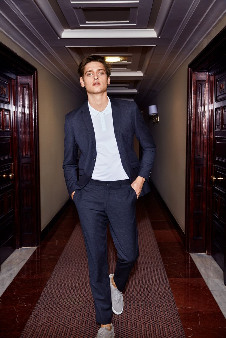 The Suit: the most versatile item in your wardbrobe. Tone it down with a polo shirt and trainers for a modern formal outfit | JACK & JONES #fashion #men #style #outfit #idea #formal