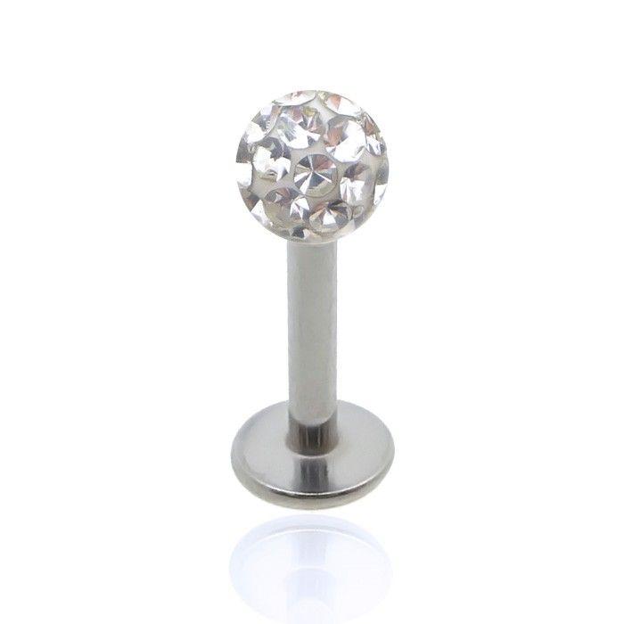 Piercing en acier chirurgical avec boule en cristal de Swarovski, à porter au tragus ou au cartilage de l'oreille.
