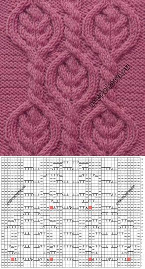 Узор 713 косы в ромбах | каталог вязаных спицами узоров | вязание | Постила
