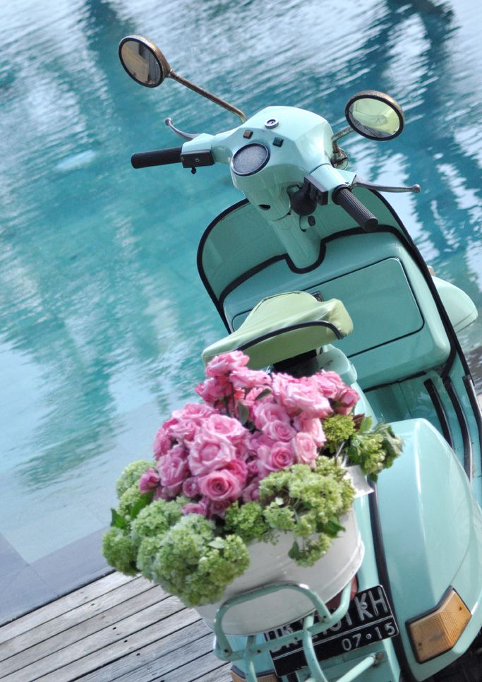 turquoise vintage vespa, pink roses and green hydrangea