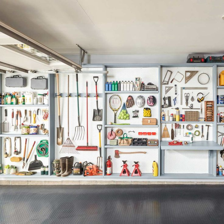 The benefits of this storage solution are endless! You only need two power tools and a weekend or less. This storage idea turns the whole wall into storage space and you can move shelves or hooks instantly, customizing it to your specific needs. It can be made from low-cost pegboard and lumber and you have the option of building just one section or several.