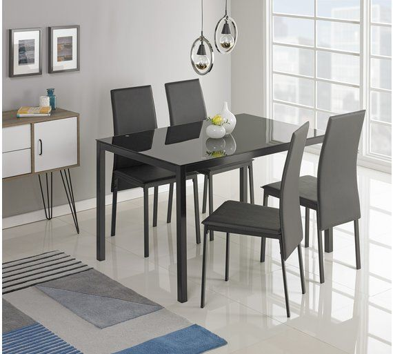 Buy Argos Home Lido Glass Dining Table 4 Black Chairs Dining