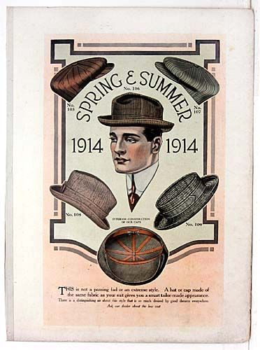 Original 1914 Men's Fashion Color Lithograph For Sale