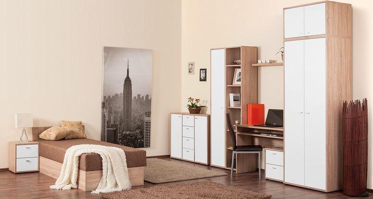 Zero ifjúsági szoba világos sonoma tölgy - fehér színben.