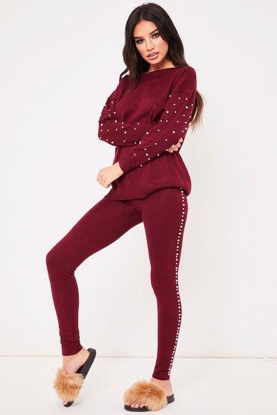 Claudia Wine Pearl Embellished Loungewear Set