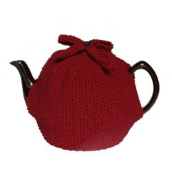 Scottish wool tea cosy. Classic moss stitch with pretty knitted button and bow detail