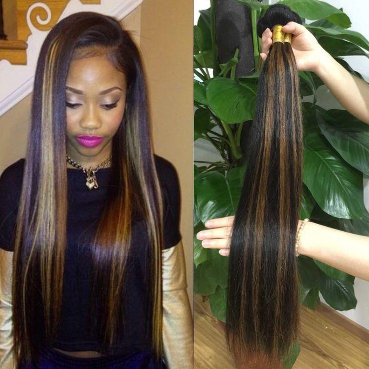 Highlight Color Brazilian Human Hair Extensions virgin hair straight Hot Beauty hair 3pcs lot Colorful Hair Style