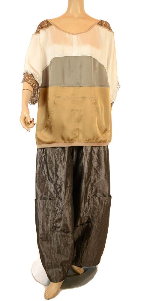Mat Fabulous Tri-Colour & Lace Trim Top - Summer 2013-MAT, lagenlook, womens plus size UK clothing, ladies plus size lagenlook fashion clothing, plus size coats, plus size dresses, plus size jackets, plus size trousers, plus size skirts, plus size petticoats, plus size blouses, plus size shirts, plus size tops, plus size tunics, lagenlook plus size fashion clothing