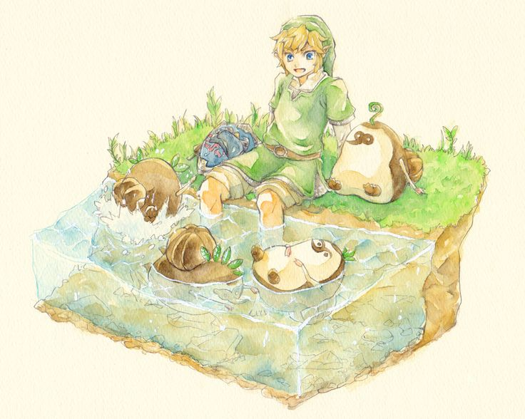 Link in the grass with machi then erla is triying to swim for Zelda bathroom decor