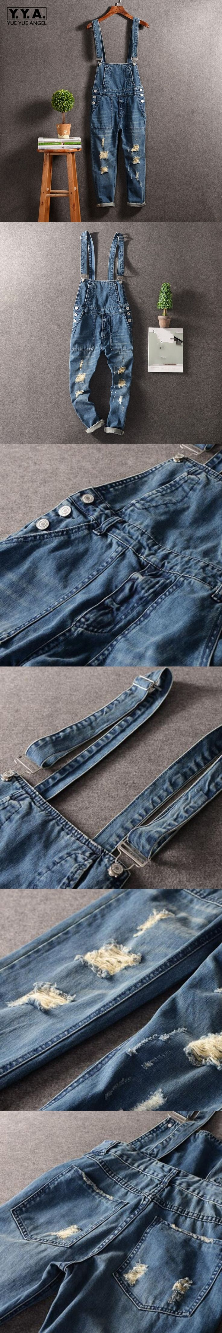 High Quality Hole Ripped Men Suspender Denim Jumpsuits Harajuku Slim Fit Retro Washed Jeans Pants Cotton Fashion Pantalon Hombre