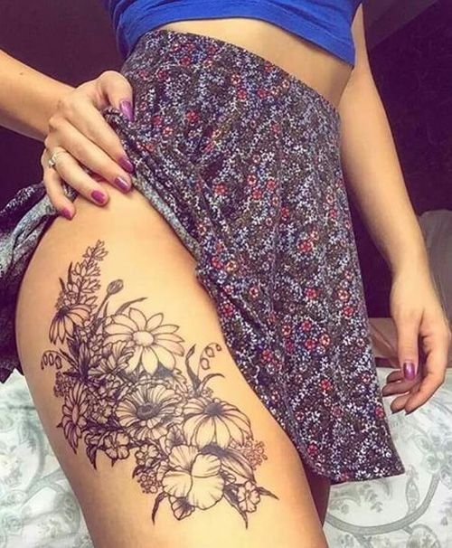 Floral Tattoos on Thigh for Women