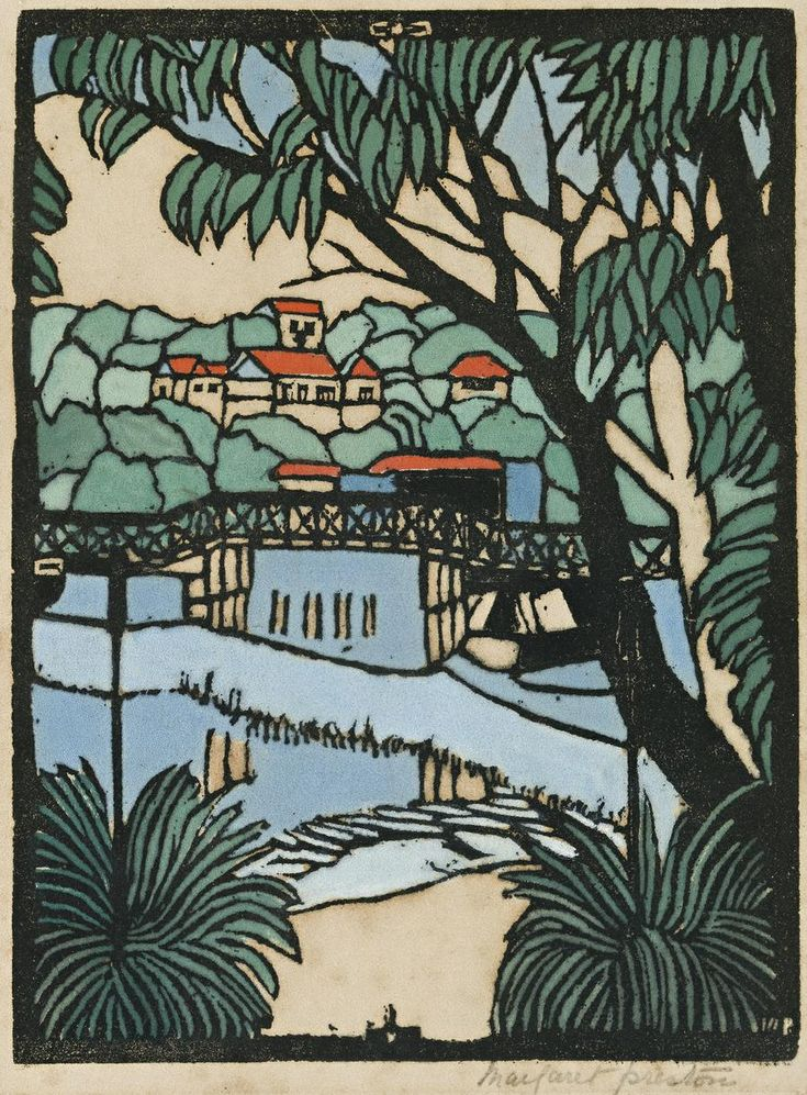 MOSMAN BRIDGE, by Australian printmaker Margaret Preston c1927 |