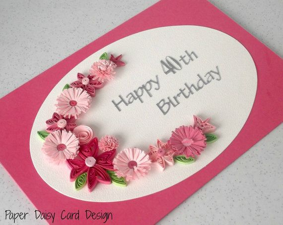 Quilled 40th birthday card with quilling by PaperDaisyCardDesign, £6.20