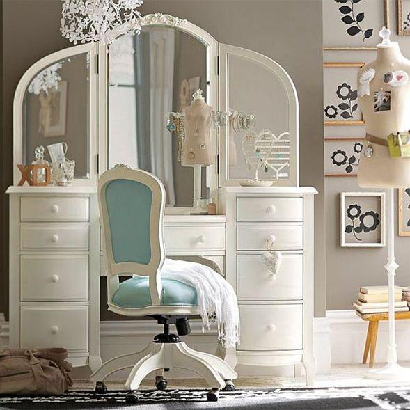 ideas de tocador n tocador con tres espejos y cajones para las chicas que aman verse en el espejo y quieren todo ordenado a la perfeccion