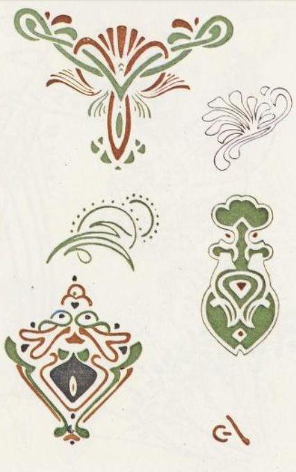 Art Nouveau Colour Stencil/@Tracy Pillarinos.#Art Nouveau Design#