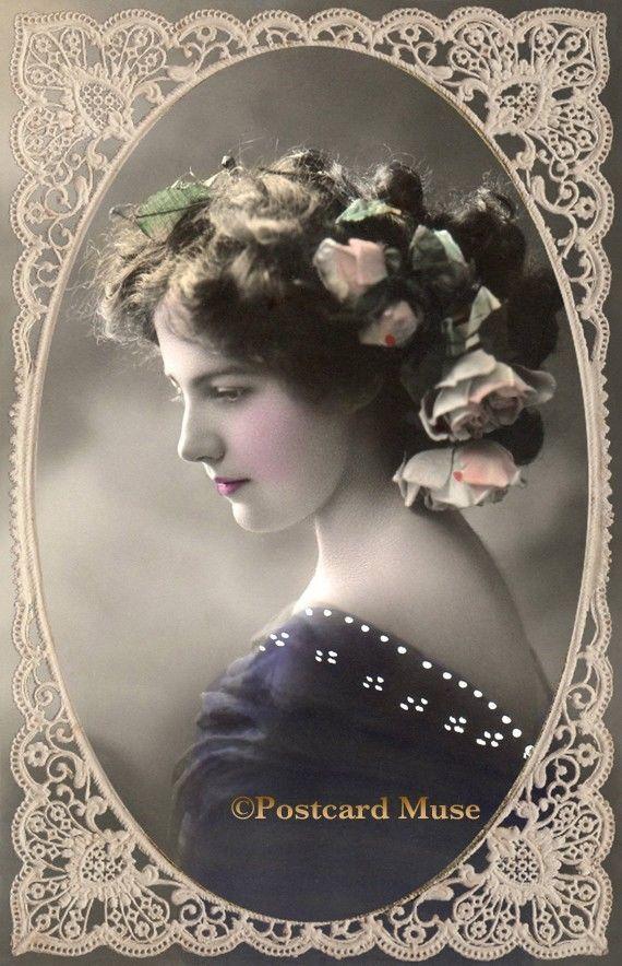 Lady in Purple Dress Vintage Imag Postcard or Print Lace Silver Antique Plain LE024 | eBay