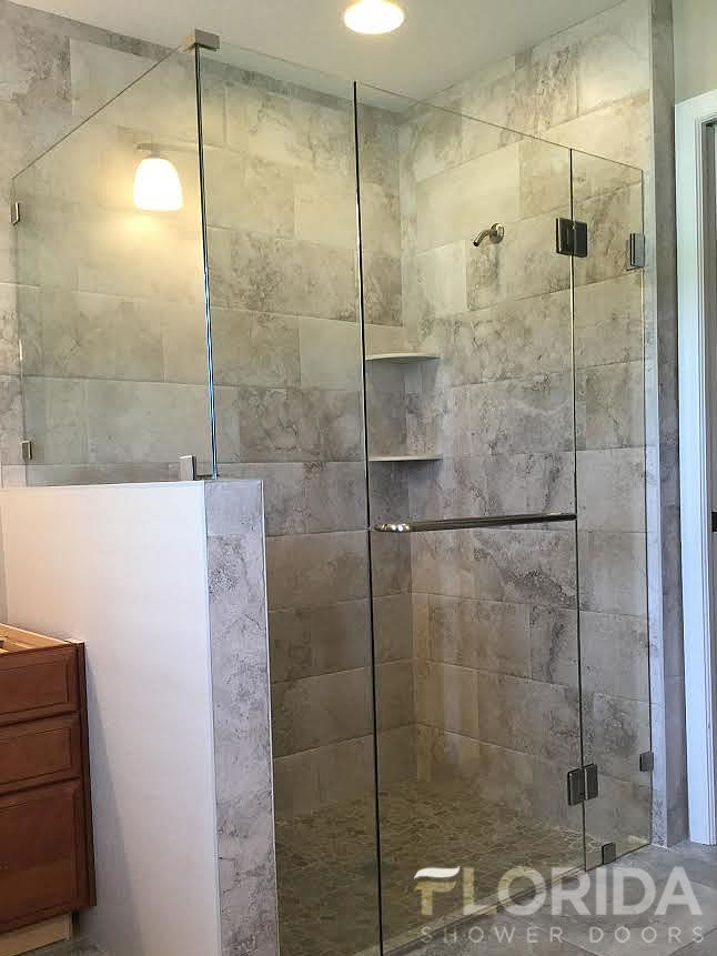 38 frameless glass to glass enclosure secured with glass clamps u0026 towel