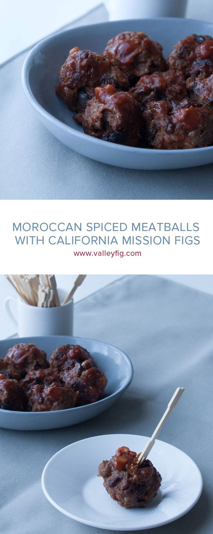 Add some spice to your appetizers with Moroccan Spiced Meatballs. Chopped California Figs add sweetness to meatball appetizers.   #figs #figappetizers #meatballs #meatballappetizers #holidayappetizers