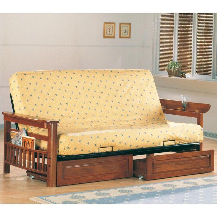 Coaster Furniture 4075 Casual Futon in Oak with Flip Up Arms and Magazine Racks #coasterfurnituredrawers