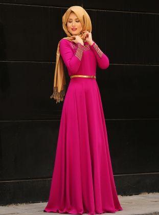 Chain Detailed Evening Dress - Fuchsia - Selma Sari Design