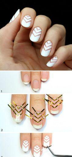 Déco ongle facile et créative - le motif chevron sur les ongles blancs