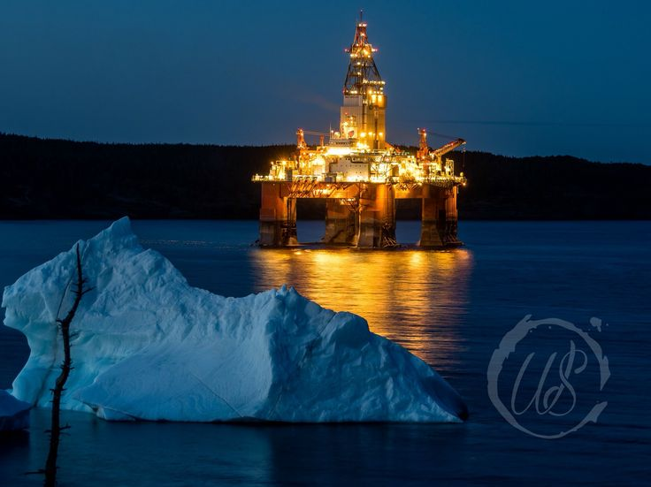 Iceberg and the rig - St. John's