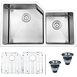 @Overstock - The Ruvati kitchen sink features a heavy-duty, 16-gauge stainless steel construction. This sink also highlights deep bowls, Tight Radius sharp inside corners, sound guard padding, and includes an installation guide and basket strainer.http://www.overstock.com/Home-Garden/Ruvati-16-gauge-Stainless-Steel-33-inch-Double-Bowl-Undermount-Kitchen-Sink/7030035/product.html?CID=214117 $389.99