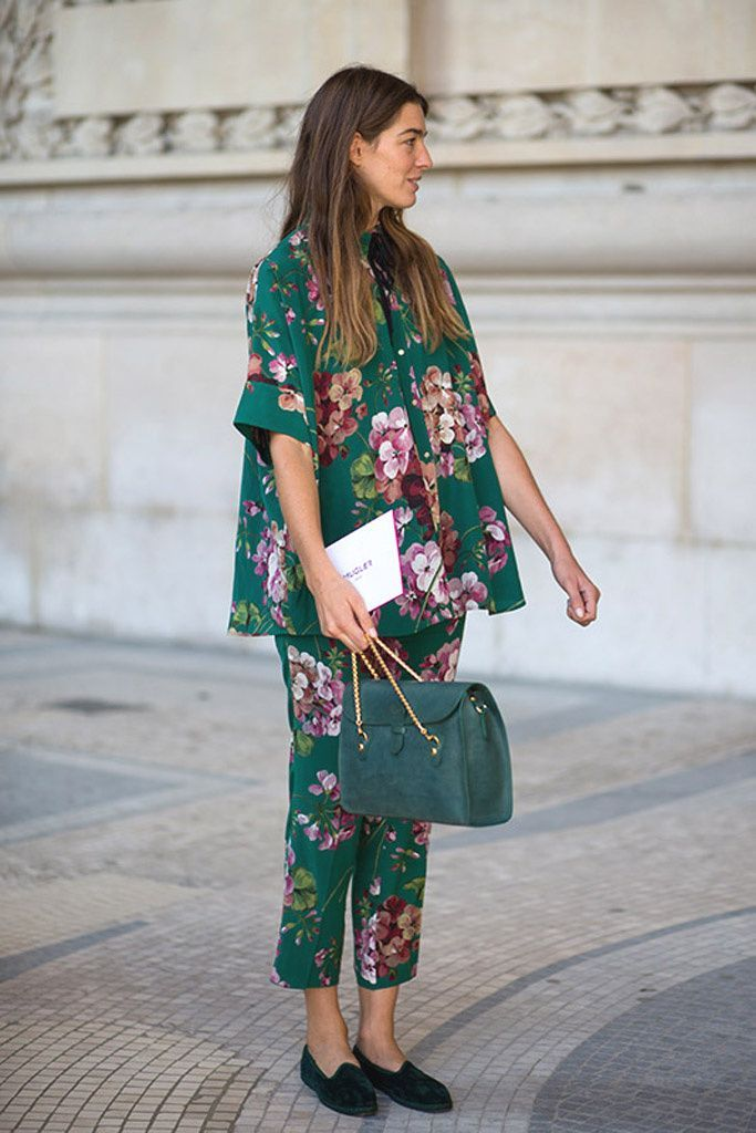 Green floral set and green bag @coveteur
