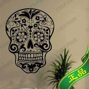 Skull wall sticker Skull punk rock creative personality removable vinyl wall art stickers ,sugar skull decals free shipping H007