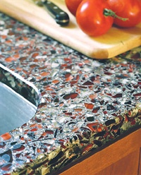 Recycled Glass Counter Top | This is fascinating. Definitely want to learn more. LOVE THIS COLOR COMBO FOR BATHROOM
