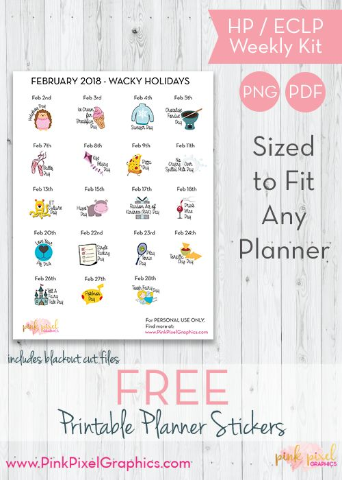 Download your free Wacky Holidays printable planner stickers for February. Free and Functional planner sticker printables. See more at www.pinkpixelgraphics.com
