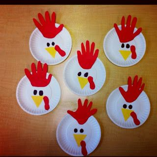 Paper Plate Roosters--and tons more handprint and footprint farm animals (and book suggestions)