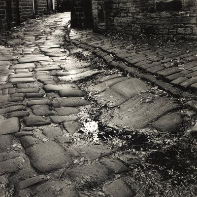 West Laithe by Fay Godwin - print. In this image i see texture form the brick paving. The floor looks smooth and worn and is obvious to see that it is wet. It looks like the image was taken down a quite alley leading to houses or just as a short cut to another street.