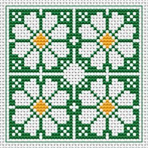 Daisy free cross stitch pattern