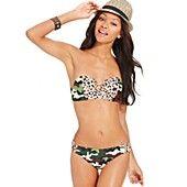 California Waves Swimsuit, Camouflage-Animal-Print Bikini Top & Camouflage-Animal-Print Bikini Bottom