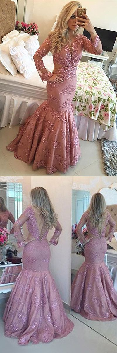 Pink Prom Dresses Long, 2018 Formal Dresses Mermaid, Long Sleeve Party Dresses Tulle with Beading Modest