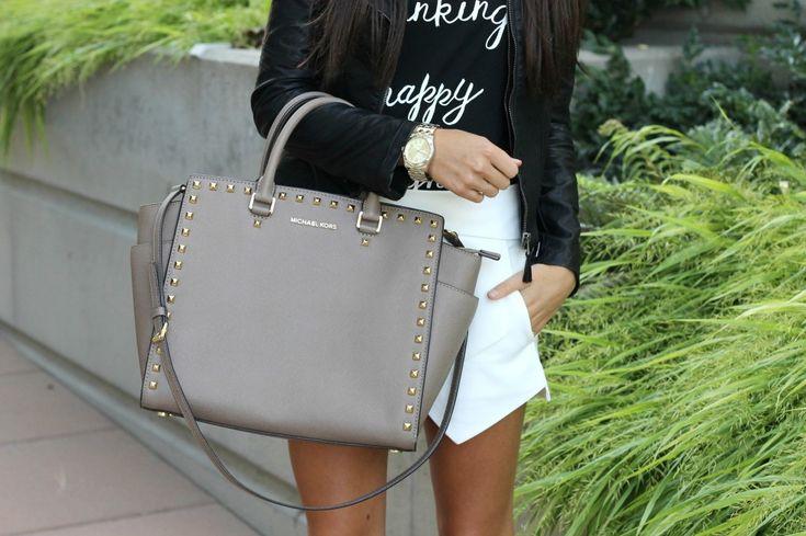 Gray MK(micheal kors) handbag. #handbags&purses