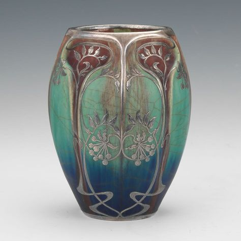 French Art Nouveau Ceramic Vase with Silver Overlay, in Manner of Alphonse Cytete, ca. Early 20th Century
