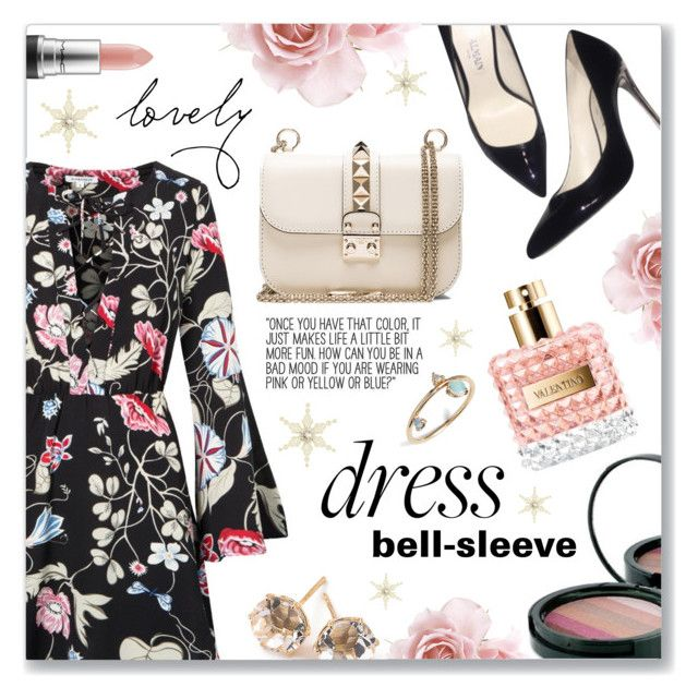 """""""New Trend: Bell-Sleeve Dresses"""" by dressedbyrose ❤ liked on Polyvore featuring BeingTRUE, Valentino, Balmain, Ippolita, MAC Cosmetics and WWAKE"""
