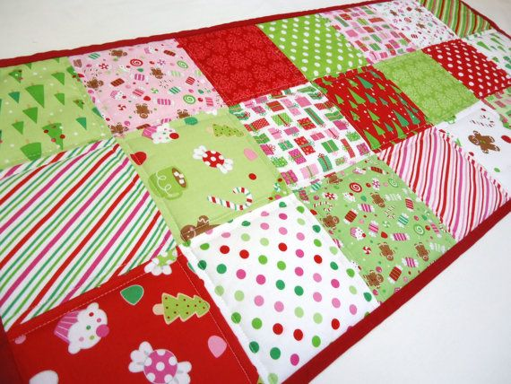 Christmas Table Runner Christmas Candy Red by NowandThenQuilts