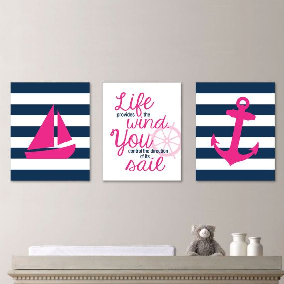 Striped Sailboat Print Trio - Decor. Nursery. Girl. Sailing. - Shown in Magenta Pink and Navy Blue - You Pick the Size & Colors (NS-192)