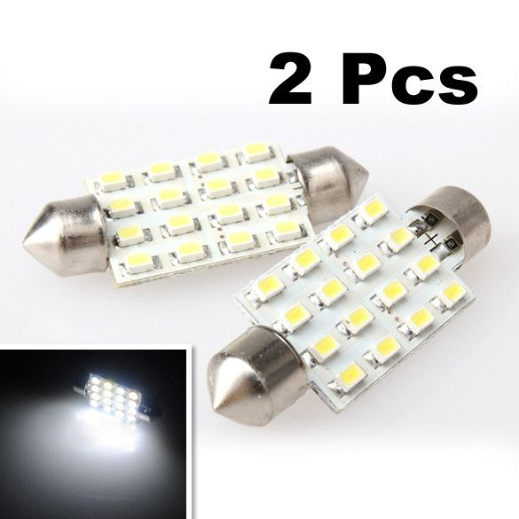 Promotional 2Pcs/Lot White 42mm 16 LED SMD Festoon Dome Light Car Bulbs Lamp Wholesale Good Quality
