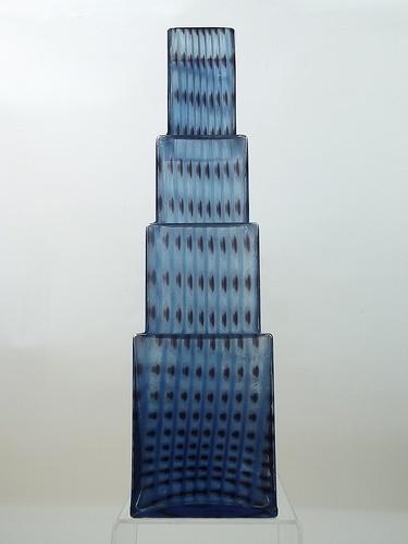 "Kosta Boda ""Metropolis"" glass vase. Designed by Bertil Vallien"
