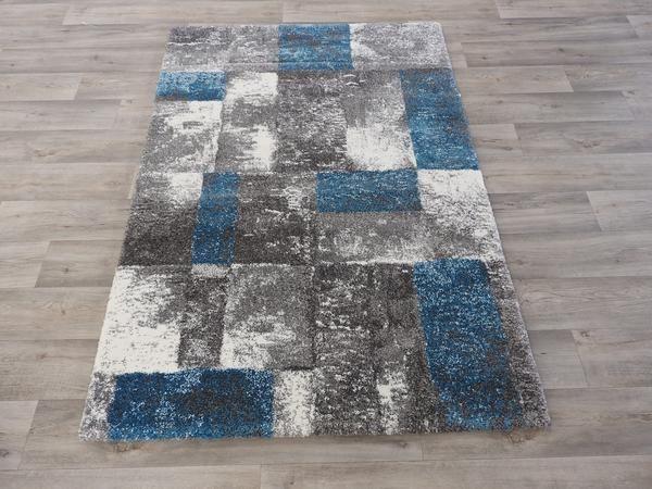 Blue And Grey Modern Turkish Rug Size: 120 x 170cm