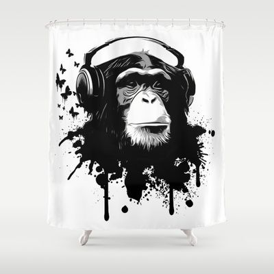 Monkey Business - White Shower Curtain by Nicklas Gustafsson #monkey #illustration #graffiti #music #headphones #chimp #showercurtains #shower #bathroom #homedecor