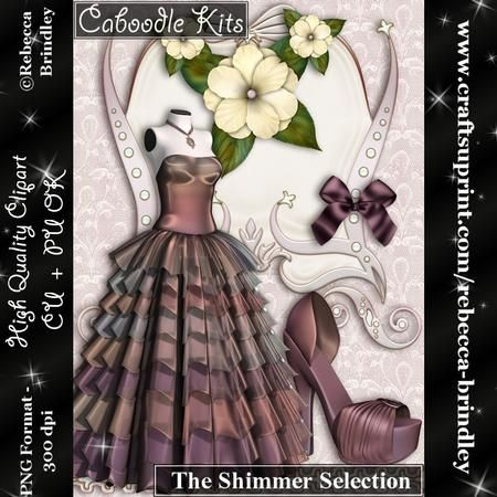 Caboodle Kits The Shimmer Selection on Craftsuprint designed by Rebecca Brindley - Sometimes you just want it all, and now you can with my Caboodle kits. Made with Designers in mind I have tried to include one of everything you would need to design great looking sheets.