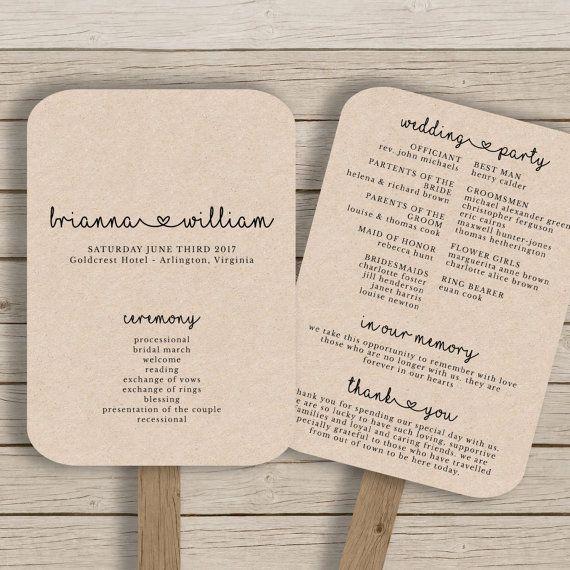 Wedding Fan Program Template - Rustic Wedding Fan Printable - YOU EDIT in MS Word - diy Editable Wedding Fan - Print on Kraft -